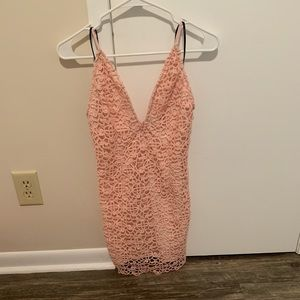 Pink mini dress with lace details
